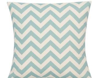 Blue and cream Cushion cover Chevron pattern