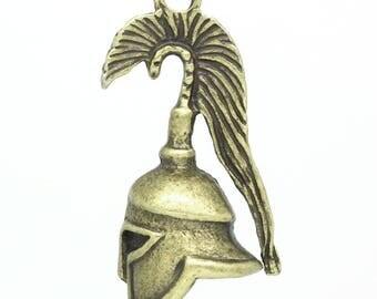 Greek helmet in antique bronze (x 1) 3D charm/pendant