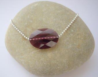 Purple women with oval Swarovski Bead Bracelet
