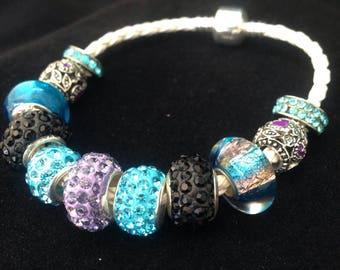 Celestial Sparkle Leather Handmade Charm Bracelet for her