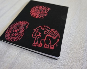 Block Stamped Fabric Wrapped Notebook - Black & Pink