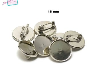 """10 """"round 18 mm"""" cabochon, silver backing pin"""