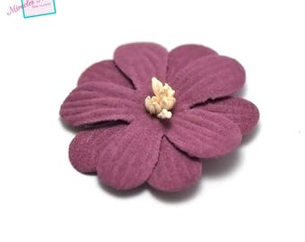 4 flowers in faux leather (suede) 45 X 10 mm, plum