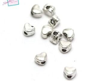 "50 ""mini heart"" beads 4 x 4 x 3 mm silver 099A"
