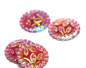 4 cabochon embellishment craft 24 mm round red, flower pattern