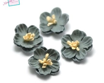 4 flowers in faux leather (suede) 21 x 7 mm, mint Green