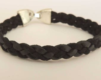 Black braided Suede, metal clasp bracelet