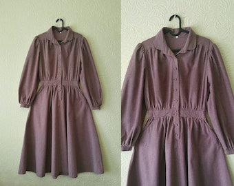 Gorgeous mauve 80s does 50s/40s dress - purple longsleeve 1950s dress - vintage longsleeve dress - 1950 1940 style everyday dress - UK10/12