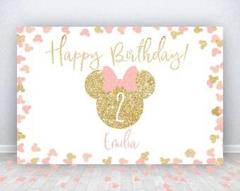 Minnie Mouse DIGITAL Birthday Backdrop, Party Backdrop, Minnie Backdrop, Minnie Mouse inspired , PRINTABLE, backdrop, babyshower, wedding
