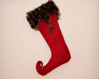 Christmas boots as a Goblin, Burgundy linen, lapel fur acrylic charms