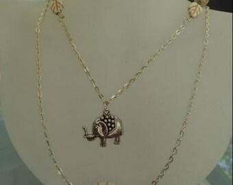 Raw stone beads and ELEPHANT necklace