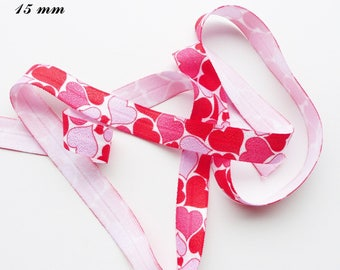 White elastic Ribbon 15 mm sold by 50 cm red Pink Purple Heart