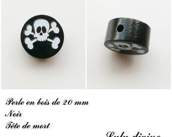 Wooden bead of 20 mm, flat, skull bead: black