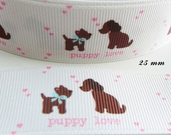 Ribbon grosgrain white Puppy love dog with love from 25 mm sold by 50 cm
