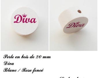 Wooden bead of 20 mm, flat bead, Diva: white