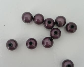 10 Brown magic beads 8 mm glossy