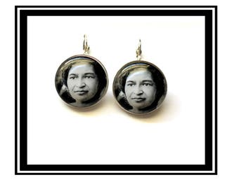 "Earrings original ""Rosa Parks"" vintage, activist, hero, woman, bus"