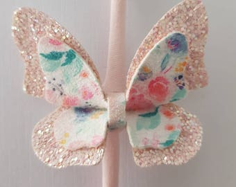 Floral Butterfly Pinch Bow