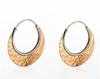 Sterling Silver And Copper Textured Hand Hammered Hoop Earrings, Mixed Metal Unusual Earrings, Geometric Earrings, Contemporary Earrings,