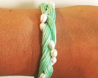 Mint and Pearl Braided Bracelet