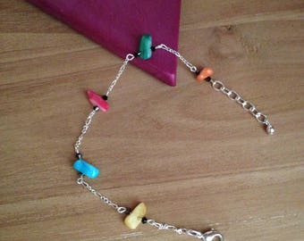 Natural stone turquoise chain bracelet sterling silver 925