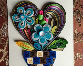 Flower Design:Handmade Quilling Art Gift-Handmade Special Gift- Wall Art Decor-House Warming Gift-Special Flower Design-Gift For Love