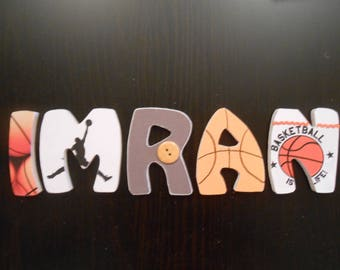 Name with basketball IMRAN theme custom wood letters