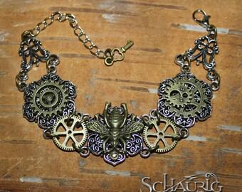 Steampunk bracelet with Bee
