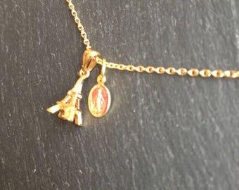 Pink fine Virgin medal necklace