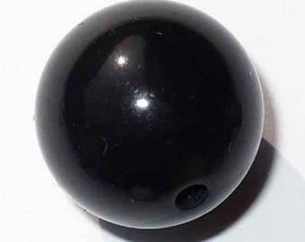 1 black 16mm round acrylic bead AR238Noir