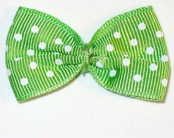 5 bowties green medium polka dots 40x25mm ACA191vert