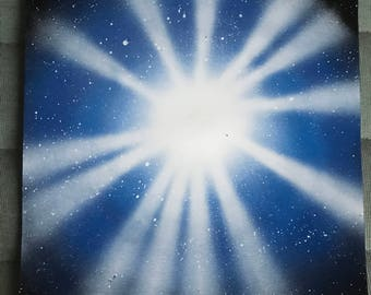 Spray Paint Art - Blue Star Burst 2
