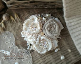 Brooch in the style of a boho, textile brooch, milk knitted  brooch, free shipping, flower textile jewelry