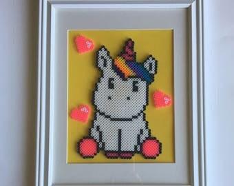 Framed Unicorn Perler