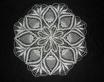 White doily crocheted 48 cm in diameter