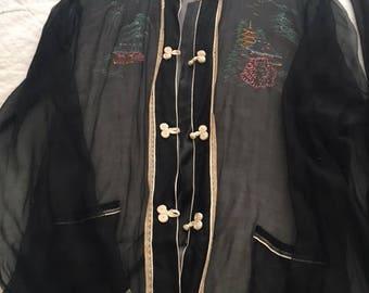 Silk Chiffon Sheer Black Vintage Chinese Top and Pant Set