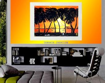 Large AFRICAN VILLAGE painting spectacular sunset yellow background orange sun set