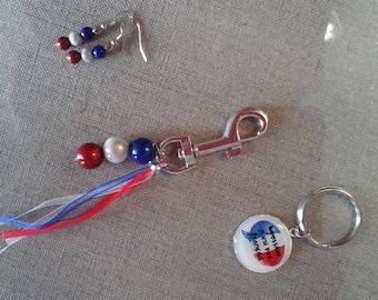 BLUE white red keychain