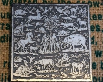 Vintage Square Volupte' Powder Makeup Compact with Adam and Eve/Animals Embossed on Case from 1950s