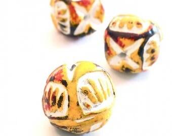X 6 PCs beads Earth ethnic 16 x 15 mm