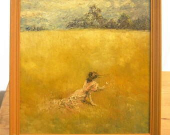 Lady in a Field with Butterfly - Original WOOD FRAMED (Pink on Gold with violet blue) Oil painting on board 13 .13 x 13 .13 inches ish