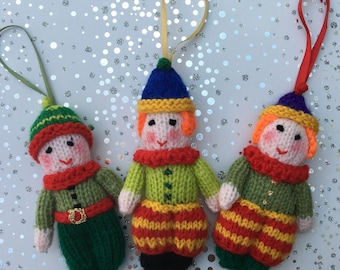 Hand Knitted Elf & Clown Christmas Tree Decorations