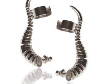 Cuff silver earrings