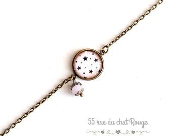 thin chain bracelet, cabochon star, pink fairy, fairy, magic, charms, bracelet
