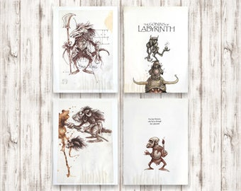 Goblins of Labyrinth. Vintage book illustration. Concept movie art by Brian Froud. Goblin drawings for paper craft scrapbook collage journal