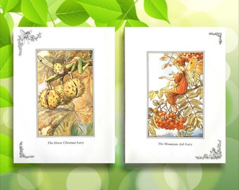 Mountain Ash & Horse Chestnut Flower Fairy Print from vintage book. Woodland Fairies Nursery themed gift for girl. Illustration for framing
