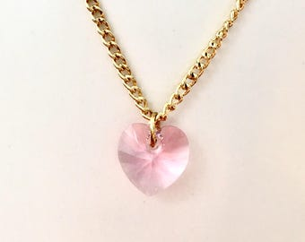 Pink Swarovski Heart Necklace