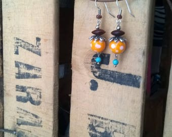 yellow and white polka dots Lampwork Glass earrings