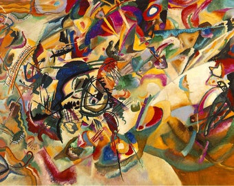 SEMI-rigid PLACEMAT, ORIGINAL, plastic, WASHABLE and durable - Wassily Kandinsky - Composition VII. Classic version.