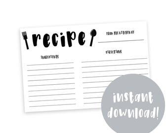 Modern Recipe Card, Printable, Housewarming Gift, 4x6 Recipe Cards